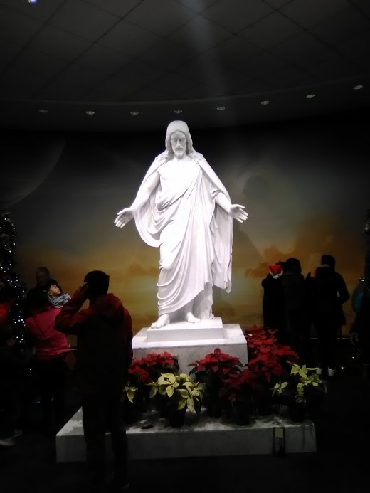 Statue of Jesus Christ indoors nearby the Washington Temple in Kensington, Maryland