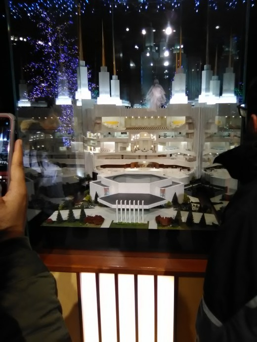 Miniature model of the Washington Temple near the Washington Temple