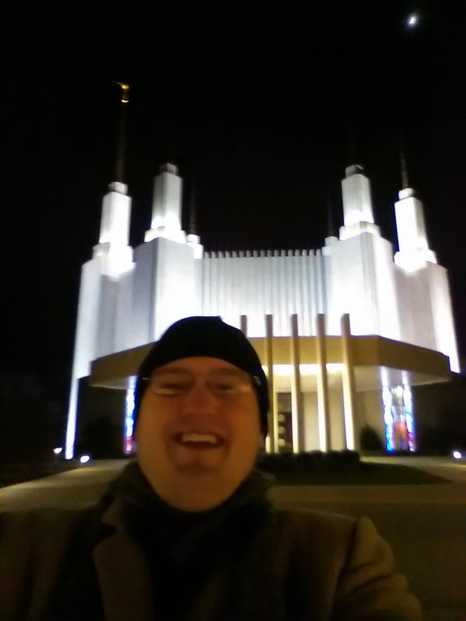 Me being silly in front of the Washington Temple in Kensington, Maryland