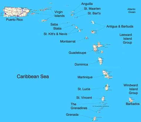 Eastern Caribbean islands - you won't find Lumbago though, not near St Kitts or anywhere. There's still plenty to choose from