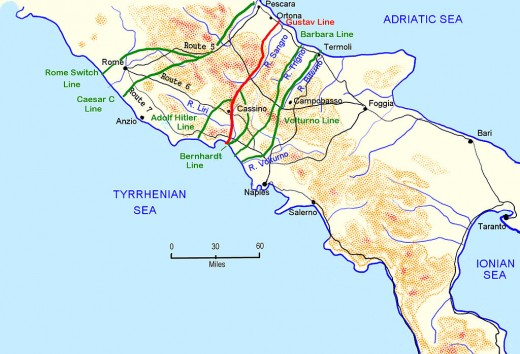 German defensive lines south of Rome, 1943-44 - a bid to sideline them at Anzio proved disastrous as the US commander proved too cautious. Churchill's 'savage tiger' became a 'beached whale'.