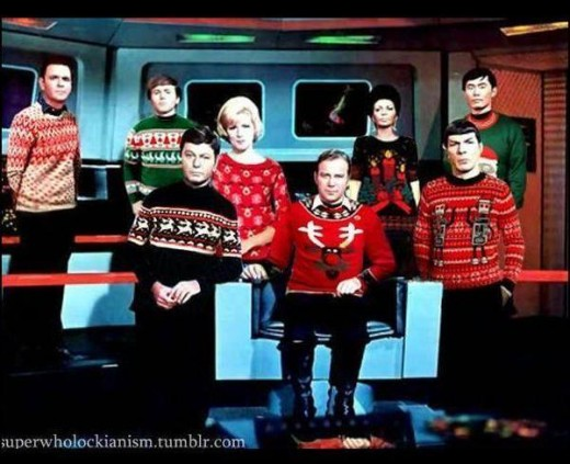 The entire crew of the U.S.S. Enterprise is dressed up in ugly sweaters for Christmas
