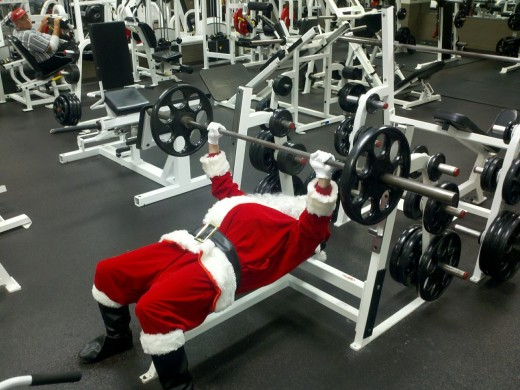 Santa Claus burning off some of those milk and cookie calories.