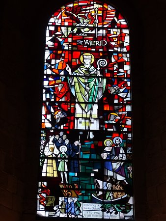 Stained glass window in Ripon Cathedral depicts St Wilfrid
