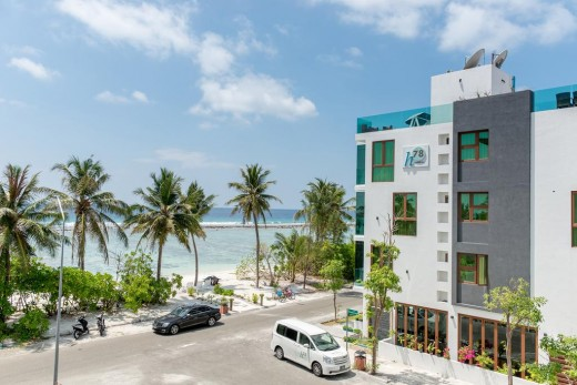 A guesthouse in Hulhumalé. Guesthouses line the beachfront in this recently developed island.