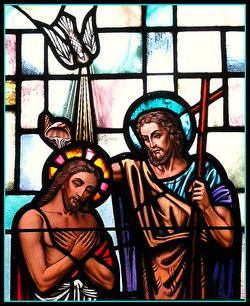 The baptism of Jesus Christ by John the Baptist.