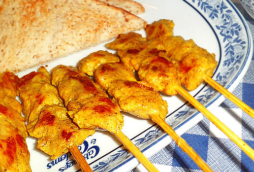 Chicken satay as foreplay (appetizer)!