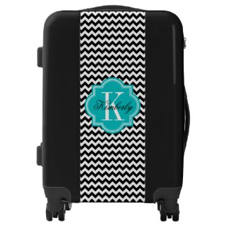 Black and White Chevron with Teal Monogram Luggage