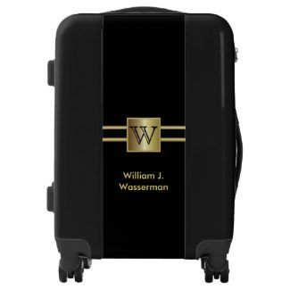 Masculine Monogram Executive Style - Black & Gold Luggage