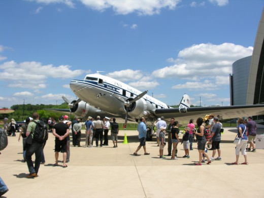 A DC-3 in Pan American markings outside the Udvar-Hazy Center at Dulles, VA, on family Day, June 2014.