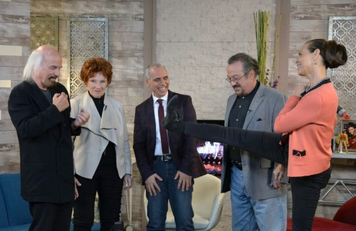 "From left: ""Happy Days"" writer Fred Fox, Jr, ""Happy Days'"" Marion Ross, host Herbie J Pilato, ""Laverne and Shirley's"" Eddie Mekka, and Deborah Pratt, ""Happy Days"" guest actress and co-creator of ""Quantum Leap,"" on ""Then Again with Herbie J Pilato."""