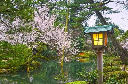 """The famous Kenrokuen of Kanazawa City, Japan. Image after photoshop """"enhancement."""""""