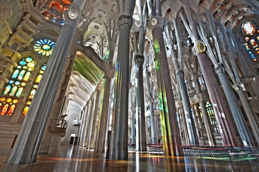 Sagrada Familia Cathedral via Barcelona, Spain. First envisioned by Antoni Gaudi in the late 19th century. Construction began in 1882. The building remains unfinished to this day.