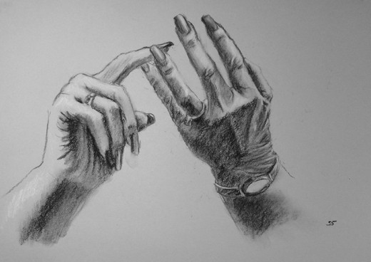 My drawing of my mother's hands.