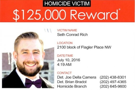 Poster asking for information about Seth Rich murder case.