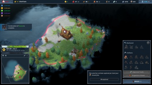 Screenshot of a village starting up in Northgard. Will these teeny Vikings survive?