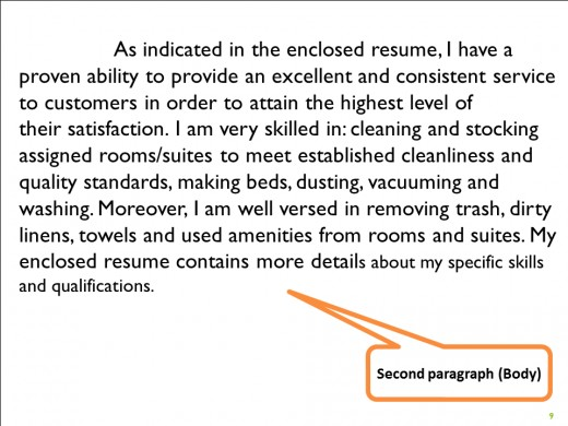 Body Section of Cover Letter