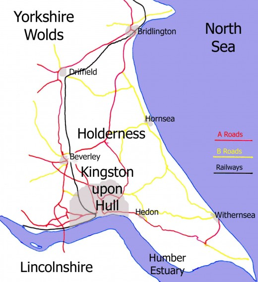 Hornsea and its location with transport links north-east of Hull in the 'resurrected' East Riding