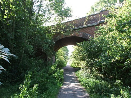 One of the road over-bridges on what was the railway and now forms part of the Trans-Pennine cycle route
