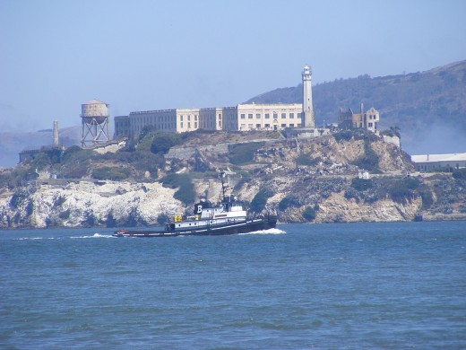 Arriving at Alcatraz by boat