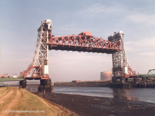 The Newport Lift Bridge - it's a long time since the central road platform was raised to allow vessels through, and forms part of the A19 north to Newcastle-upon-Tyne, south to Northallerton, Thirsk and York