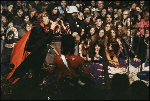 1969 Rolling Stones concert with Hells Angels in Altamont Speedway in Livermore, Calif.