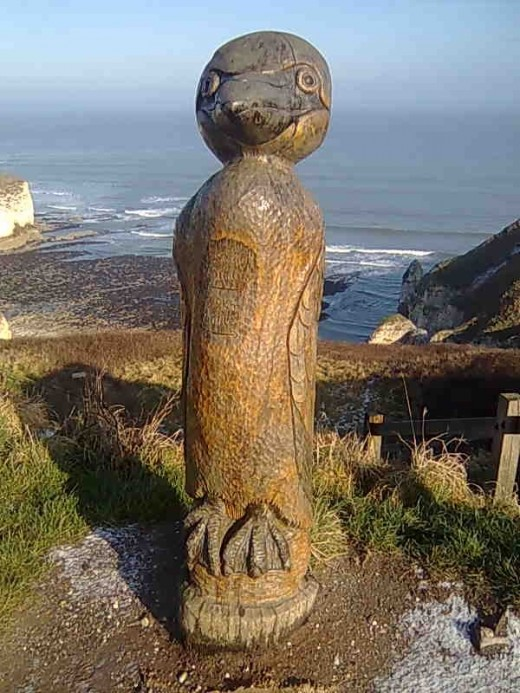 Here's one seabird that won't scoff your chips out of your hands - waste wood turned into sculpture along the cliffs at Flamborough