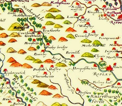 A Saxton 1577 late Tudor era map of Nidderdale marked as 'Netherdale', with Pateley Bridge at the centre as the point where the Nidd changes its character from a fast-flowing upland river to something more sedate