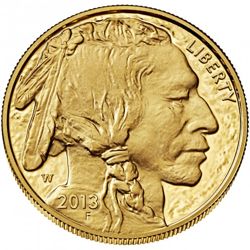 A 1 ounce American gold buffalo proof coin (face value $50), bullion value exceeding $1600 as of Nov. 8, 2012
