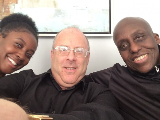 "With ""Predator's"" Bill Duke, and friend, during a pre-production meeting."