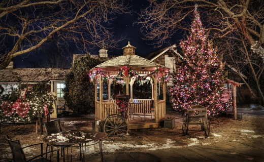 A front yard gazebo decorated for celebrating Christmas activities.
