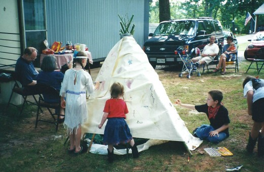 The kids had lots of fun painting the tepee!