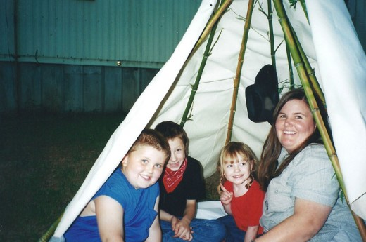 The kids loved having a Pow Wow inside the tepee.