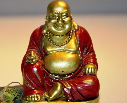 Buddha wearing his red kimono.