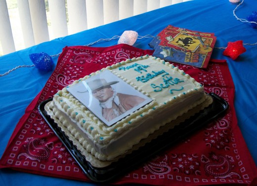 Use your birthday cake displayed on a red bandanna for a decoration.