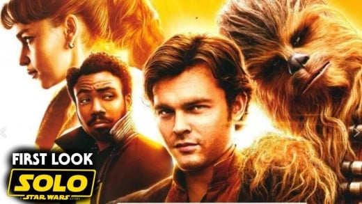 From left: Emilia Clarke as Kira, Donald Glover as Lando Calrissian, Alden Ehrenreich as Han Solo, and Jonas Suotama as Chewbacca. The artwork is unofficial.