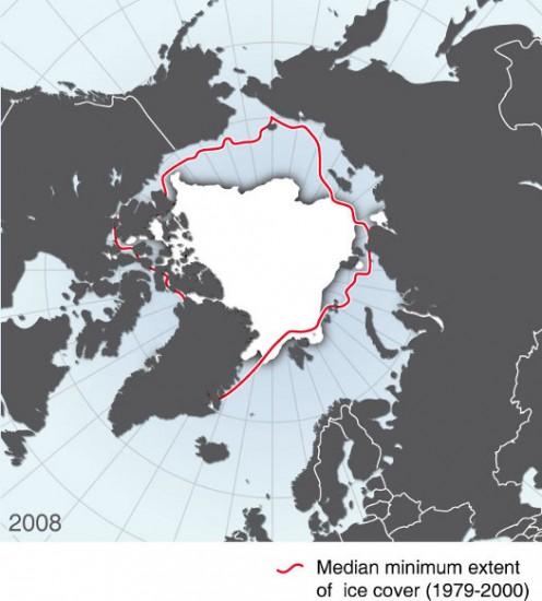Artic sea: minimum extent of ice in 2008