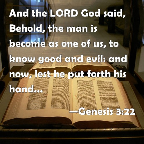 """Genesis 3:22: And the LORD God said, """"The man has now become like one of us, knowing good and evil. He must not be allowed to reach out his hand and take also from the tree of life and eat, and live forever."""""""