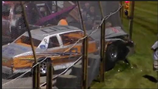 Armco guardrail crash at Sportsdrome Speedway