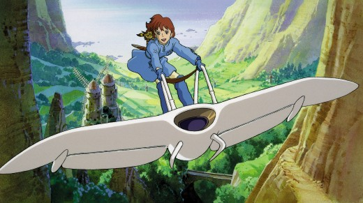 Nausicaä flying on her futuristic glider.