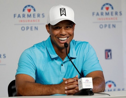 Tiger at the Farmer's Insurance Open yesterday.