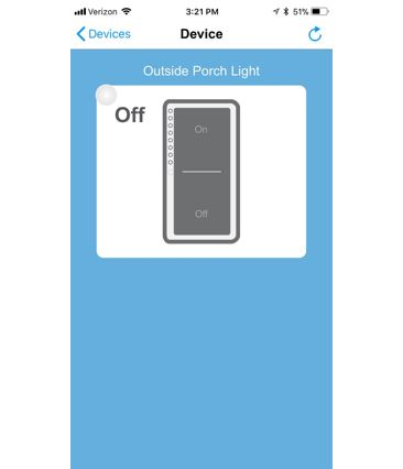 "Screen shot of my iPhone INSTEON app showing my porch lamp switch. I tap ""on"" and, walla, my porch light goes on. Image looks just like my wall switch."