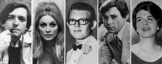 Murder vctims Wojciek Frykowski, Sharon Tate, Steven Parent, Jay Sebring and Abigail Folger.