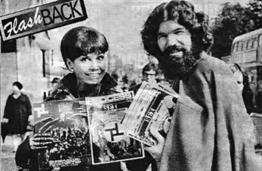 Mary Tyler Moore posing with Satanist and member of the Process Church of the Final Judgement.