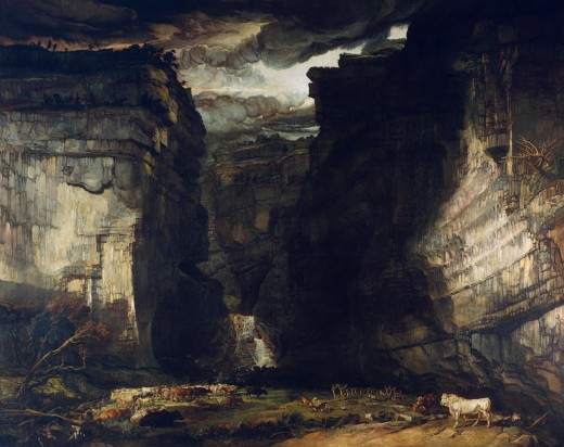 The same view seen by another master, James Ward, born in the reign of George III, died twenty-five years into Victoria's - like Turner after him, style leans heavily on artistic licence over accurate presentation (at least the colours are realistic)