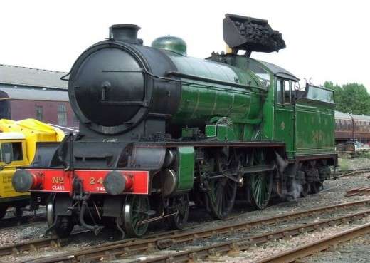 """Visitor, Scottish owned Gresley design, built at Darlington in the mid-1920s, D49/1 4-4-0 No. 246 """"Morayshire"""" in LNER passenger livery stands on the coalng road on the Embsay & Bolton Abbey Railway"""