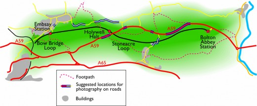 The extent of the Embsay &  Bolton Abbey Railway, showing local roads and footpath networks