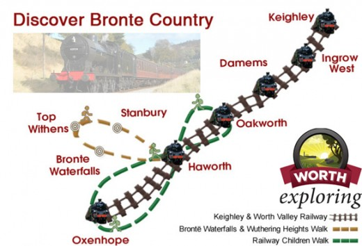 Route map of the Keighley (pron. 'Keithley') & Worth Valley Railway