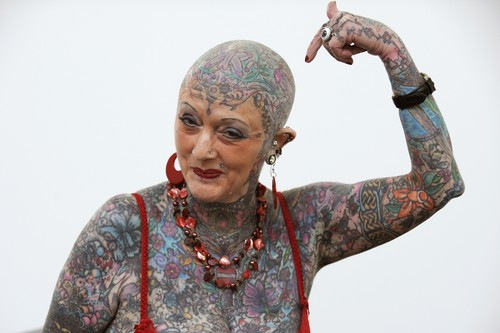 Isobel Varley, who entered the Guiness Book of World Records in 2000 as the world's most tattooed senior woman.