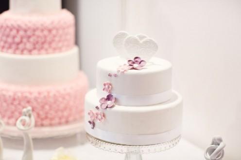 Two tier wedding cake.